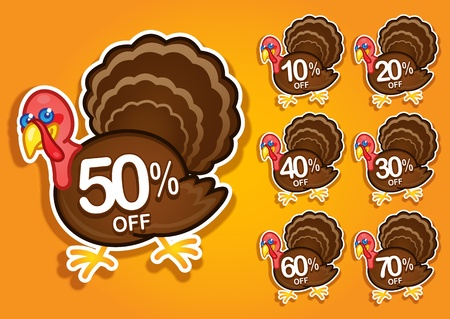 Thanksgiving Turkey discount stickers   labels Vector