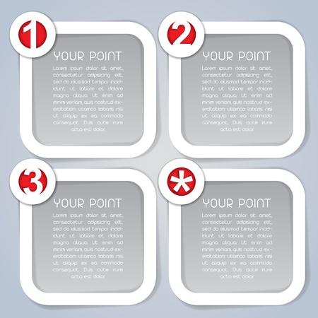 Uno, Dos, Tres y Estrella, etiquetas progreso cuadrados en blanco