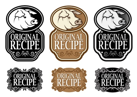 Original Recipe Pork vertical version seal Stock Vector - 13694524