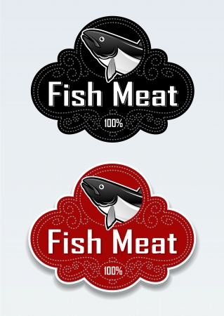 Fish Meat Seal  Sticker Vector