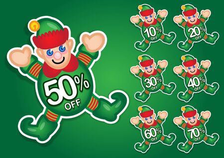 Christmas Elf discount stickers Vector