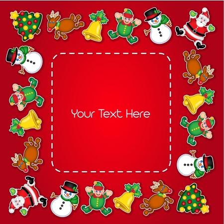campanas navide�as: Personajes de Navidad Frame Vectores