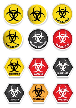Bio Hazard Stickers   Labels Vector
