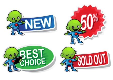 Alien Character Selling Stickers Vector