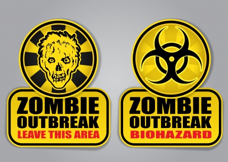 Zombie Outbreak Biohazard warning signals Vector