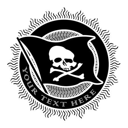 drapeau pirate: Pirate Seal en noir et blanc Illustration