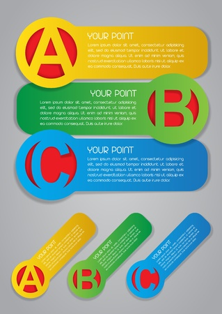 ABC Progress Labels in Colors Vector