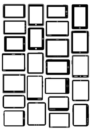 Tablet PC Collection in Black Stock Vector - 13753072
