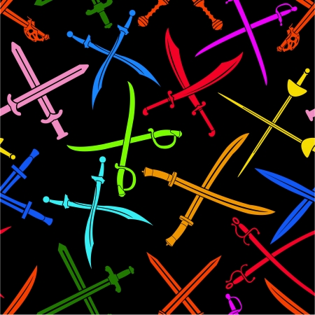 Crossed Swords Seamless Pattern Colorful Stock Vector - 13753076