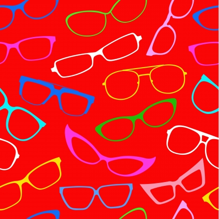 perforating: Seamless Pattern with Sunglasses in colors  Illustration