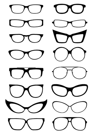eye protection: Glasses and Sunglasses silhouettes  Illustration