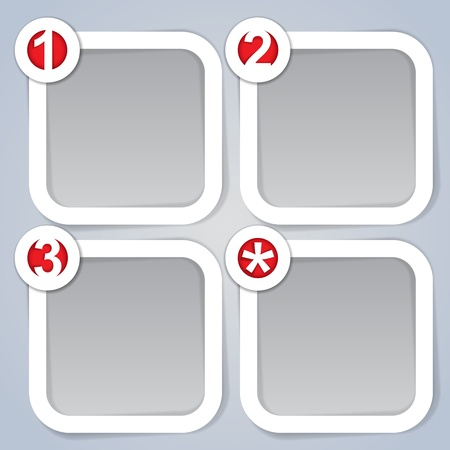 One, Two, Three and Star, square progress labels in white Vector