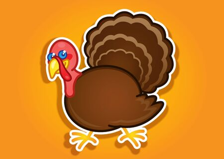 Thanksgiving Turkey sticker  label Vector