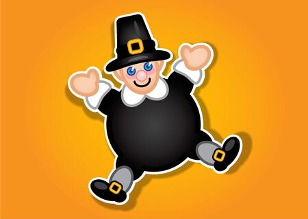 Thanksgiving Pilgrim Sticker  Label Vector