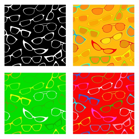 Seamless Patters Collection with Sunglasses and Glasses Stock Vector - 13769463