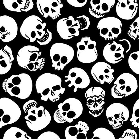 Skulls in Black Background Seamless Pattern 矢量图像