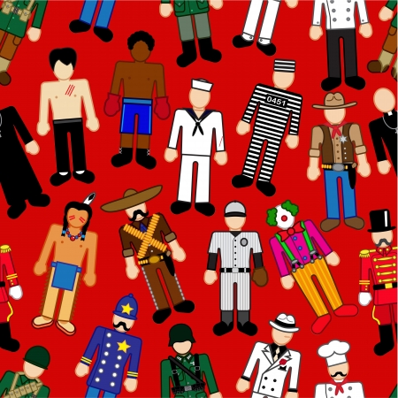 prisoner of war: Classic Characters seamless pattern