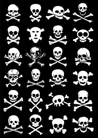 skull and crossed bones: Calaveras y sistemas de recolecci�n Corssbones Vector en Fondo Negro