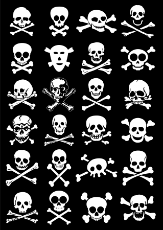 Skulls & Corssbones Vector Collection in Black Background Vector