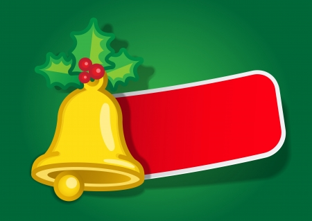 Christmas Bell Message Label Vector