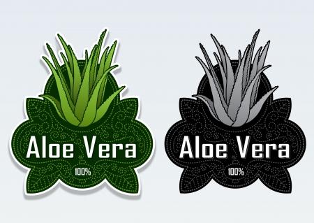Aloe Vera Seal Sticker Illusztráció