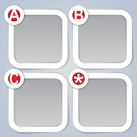 ABC, Square Progress vector Labels in white Vector