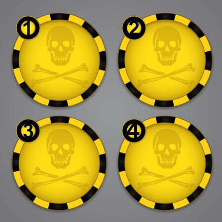 One, Two, Three, Four Warning Skull and Crossbones circular labels Vector