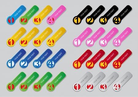 Een, Twee, Drie, Vier vooruitgang labels in de kleuren