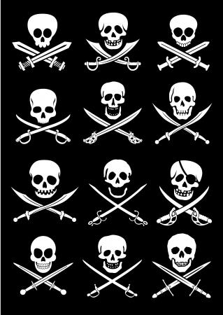 pirata: Espadas cruzadas con la colecci�n de cr�neos en el fondo negro Vectores