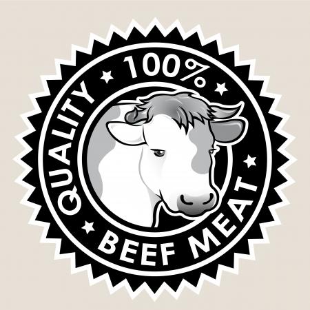 carne de res: La carne de vacuno de calidad al 100% del sello Vectores