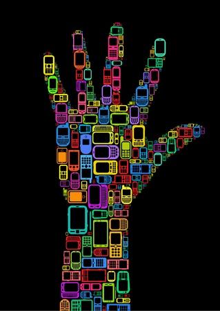 Silhouet van de hand gemaakt met mobiele telefoons en smartphones in zwarte achtergrond Stock Illustratie