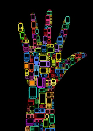 ring finger: Silhouette of hand made with Cellphones and Smartphones in black background Illustration