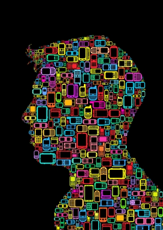 head phones: Profile Silhouette of a man made with cellphones and Smartphones
