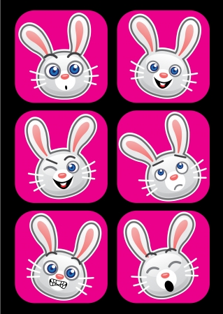 Rabbit face expressions Vector