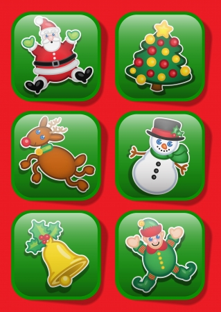 flying hat: Christmas Characters Icons Illustration