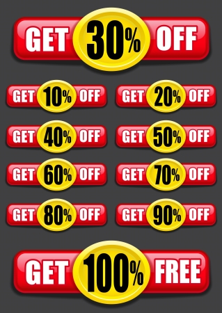 Get percent off, banners  labels  icons Vector