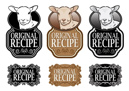 schwarzes schaf: Original Recipe Lamb Version vertikale Abdichtung Illustration