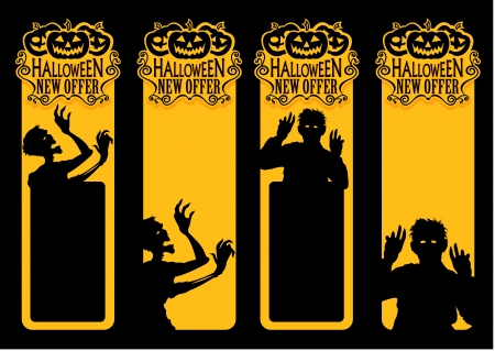 invation: Zombie Halloween New Offer Labels Illustration