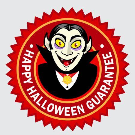 guarantee seal: Happy Halloween Guarantee Seal  Label Illustration