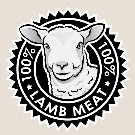 Cordero Carne Seal 100% Ilustración de vector