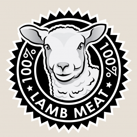 lamb meat: Lamb Meat 100% Seal Illustration