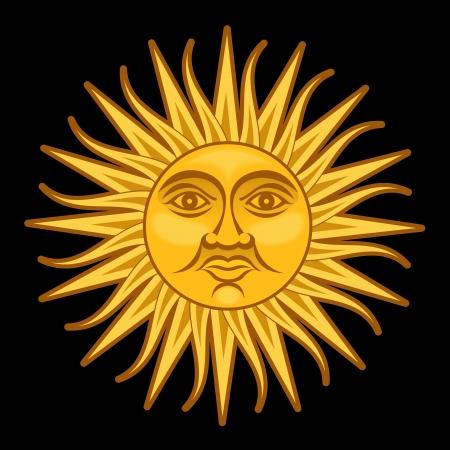はしけ: 5 月の太陽ソル ・ デ ・ マヨ  イラスト・ベクター素材