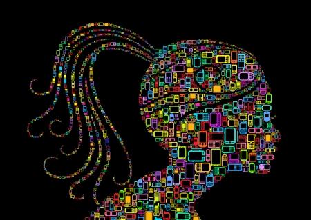 donna con telefono: Donna, silhouette, profilo di uomo fatto con cellulari e smartphone a sfondo nero