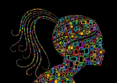 head phones: Profile woman silhouette of man made with Cellphones and Smartphones in black background