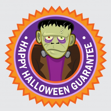 Happy Halloween Guarantee Frankenstein seal   stciker Stock Vector - 15328423