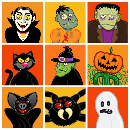 Halloween Character Avatars Vector