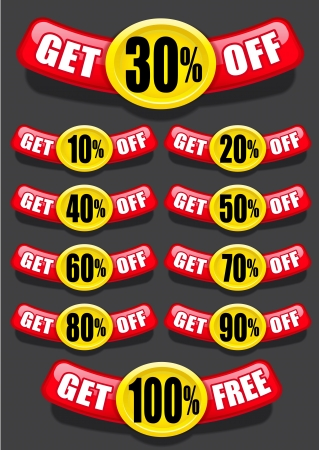 Get percent off, banners   labels   icons Stock Vector - 15328434