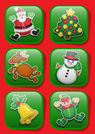 assistent: Christmas Characters Icons Illustration