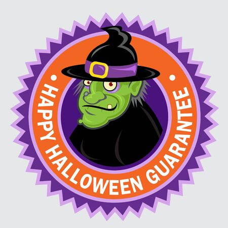 Happy Halloween Guarantee Witch Seal   Sticker Vector