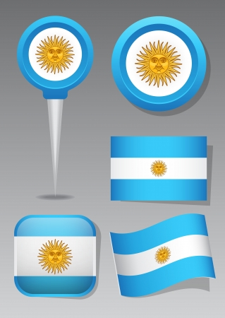 Argentina   Symbols, icons and flags Vector